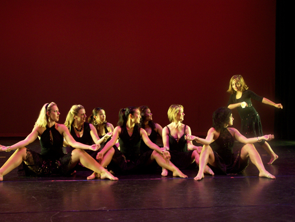 Santa Ana college dance, black and gold costumes design by Katharine Tarkulich