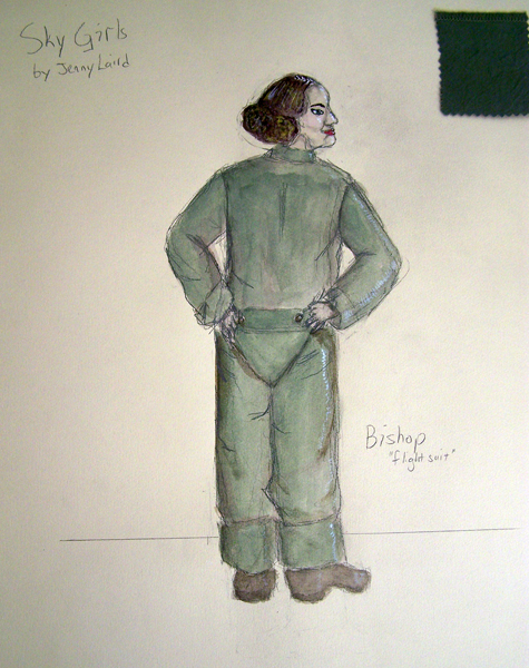 Bishop flightsuit rendering in Sky Girls, costume design by Katharine Tarkulich