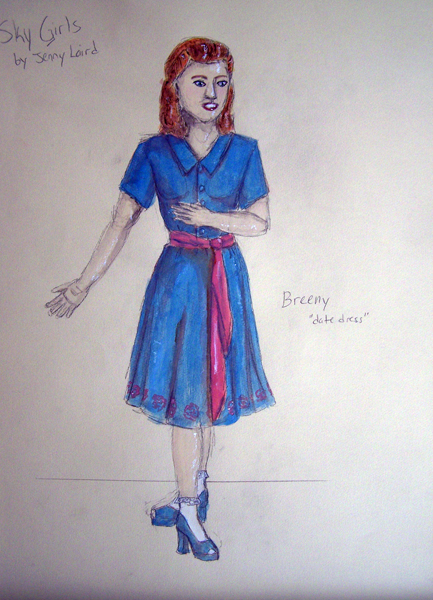 Breeny date dress rendering from Sky Girls, 1940s costume design by Katharine Tarkulich