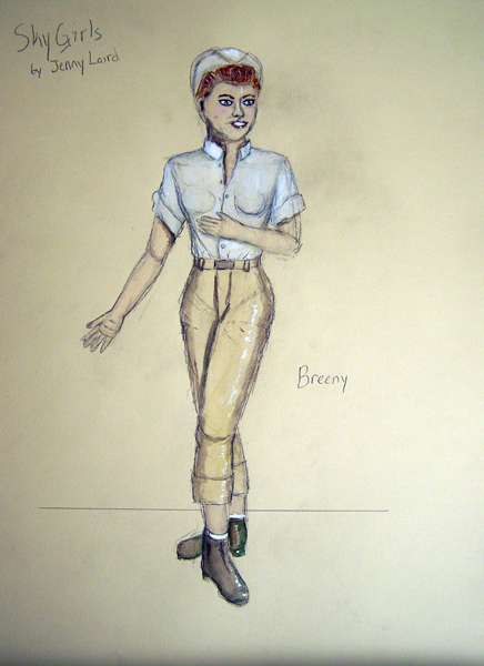 Breeny rendering in Sky Girls, 1940s costume design by Katharine Tarkulich