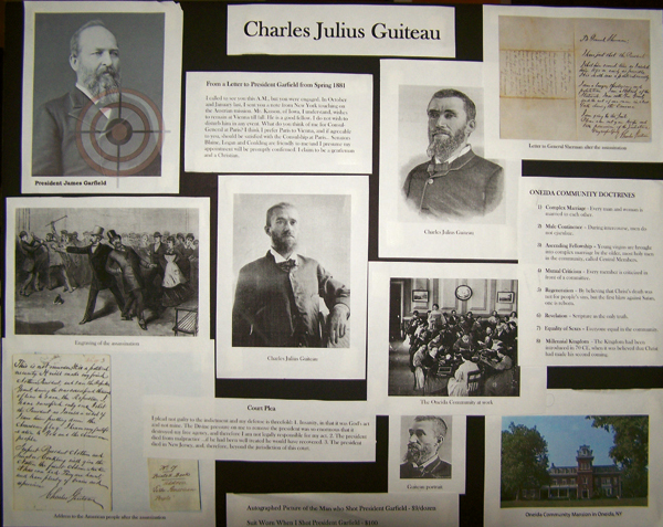 Charles Guiteau research board from Sondheim's Assassins, costume design by Katharine Tarkulich