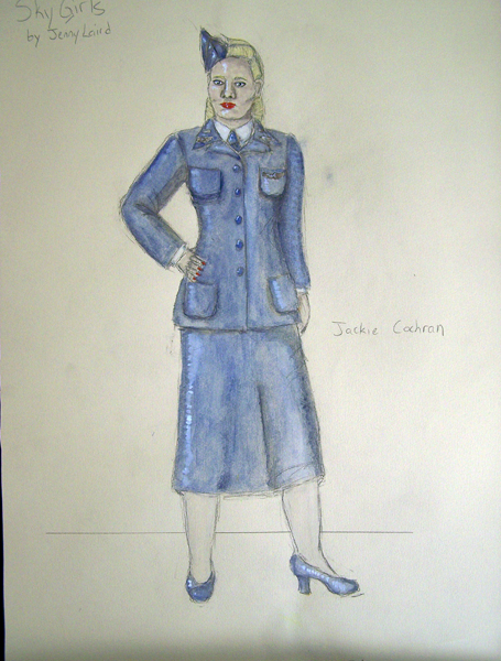 Jackie Cochran rendering from Sky Girls, 1940s WWII female uniform design by Katharine Tarkulich