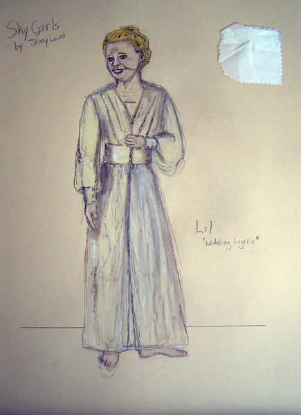 Lil 1940s wedding lingerie rendering from Sky Girls, costume design by Katharine Tarkulich