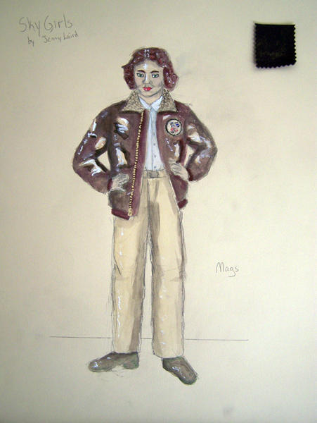 Mags rendering 1940s female fighter pilot from Sky Girls, costume design by Katharine Tarkulich