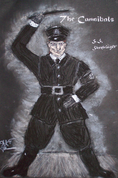 Schrekinger rendering from The Cannibals, costume design by Katharine Tarkulich