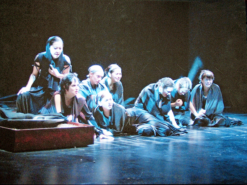 Hecuba and Greek Chorus in The Women of Troy, costume design by Katharine Tarkulich