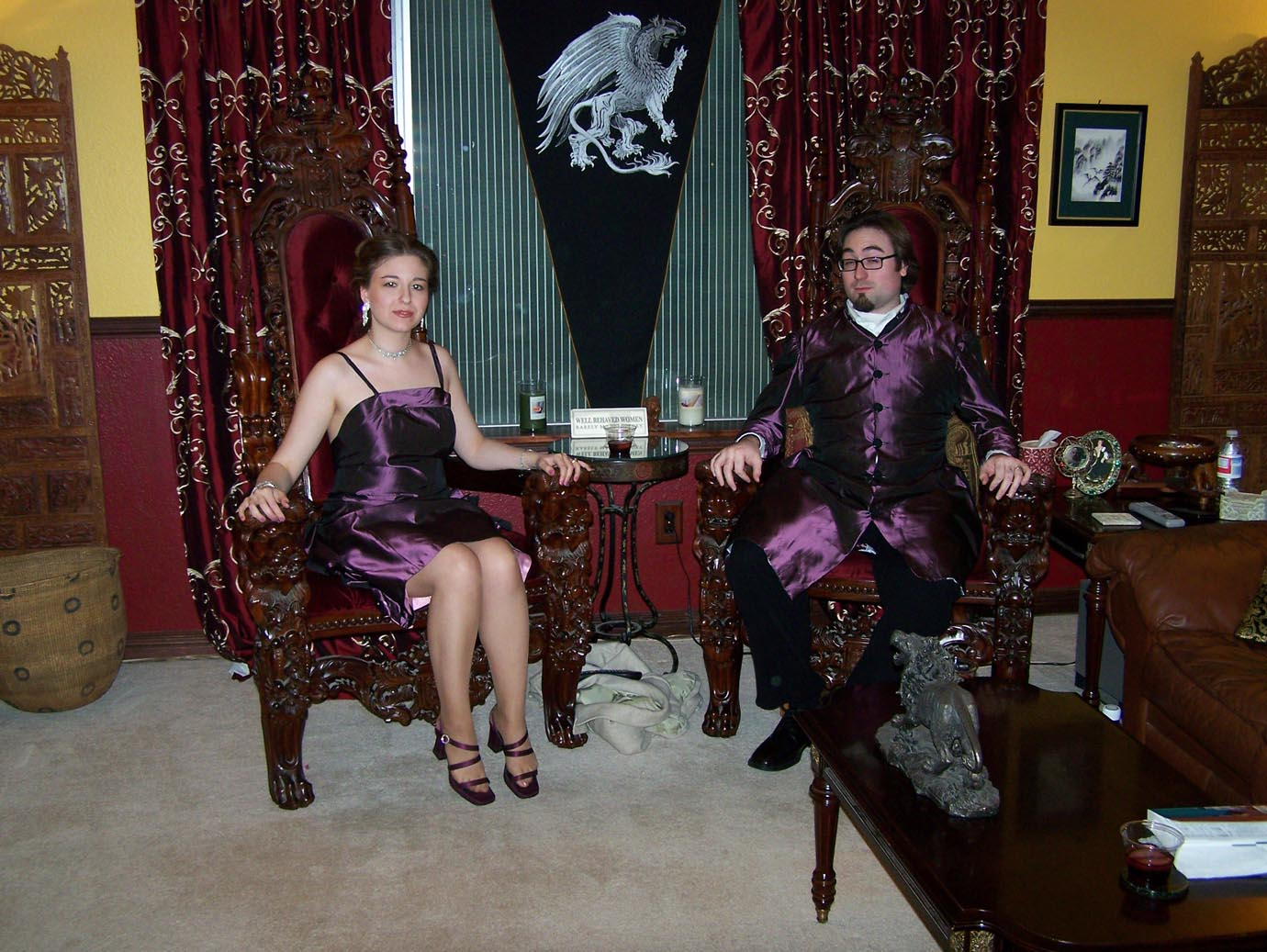 Purple taffeta dress and coat designed and built by Katharine Tarkulich