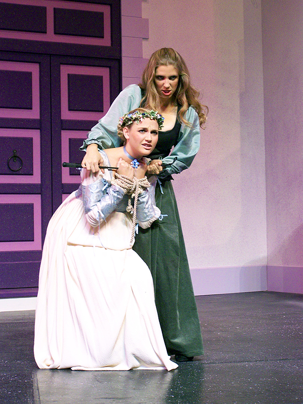 Bianca and Kate in Shakespeare's The Taming of the Shrew, costume design by Katharine Tarkulich