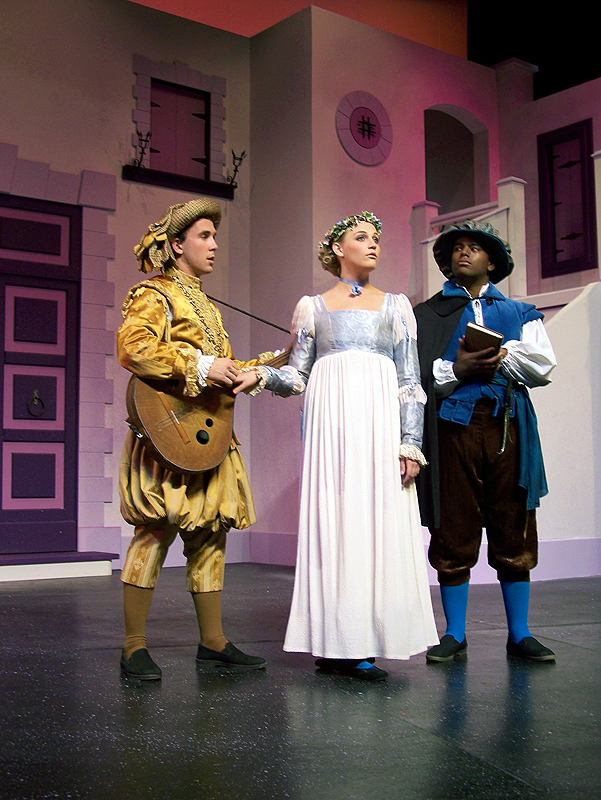 Hortensio, Bianca, and Lucentio in Shakespeare's The Taming of the Shrew, costume design by Katharine Tarkulich