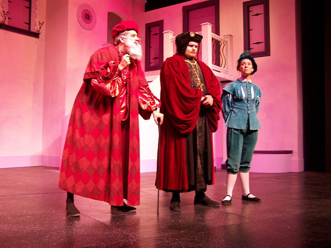 Grumio, Baptista, and Tranio in Shakespeare's The Taming of the Shrew, costume design by Katharine Tarkulich