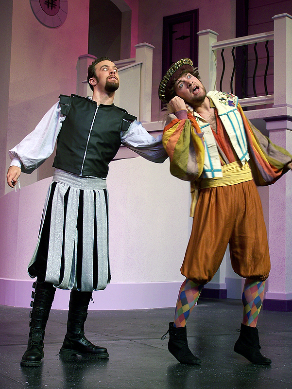 Petruchio and Grumio in Shakespeare's The Taming of the Shrew, costume design by Katharine Tarkulich