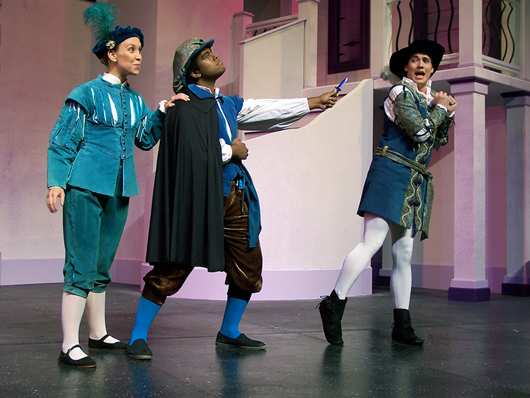 Tranio, Lucentio, and Curtis in Shakespeare's The Taming of the Shrew, costume design by Katharine Tarkulich