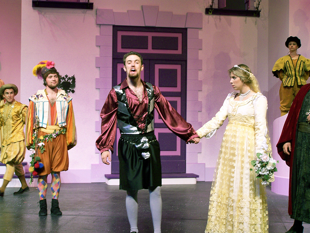 Grumio, Petruchio, and Kate at the wedding in Shakespeare's The Taming of the Shrew, costume design by Katharine Tarkulich