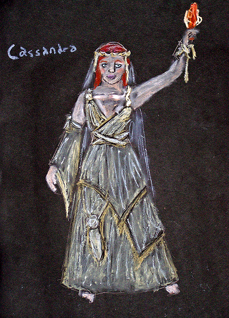 Cassandra rendering from The Women of Troy, costume design by Katharine Tarkulich