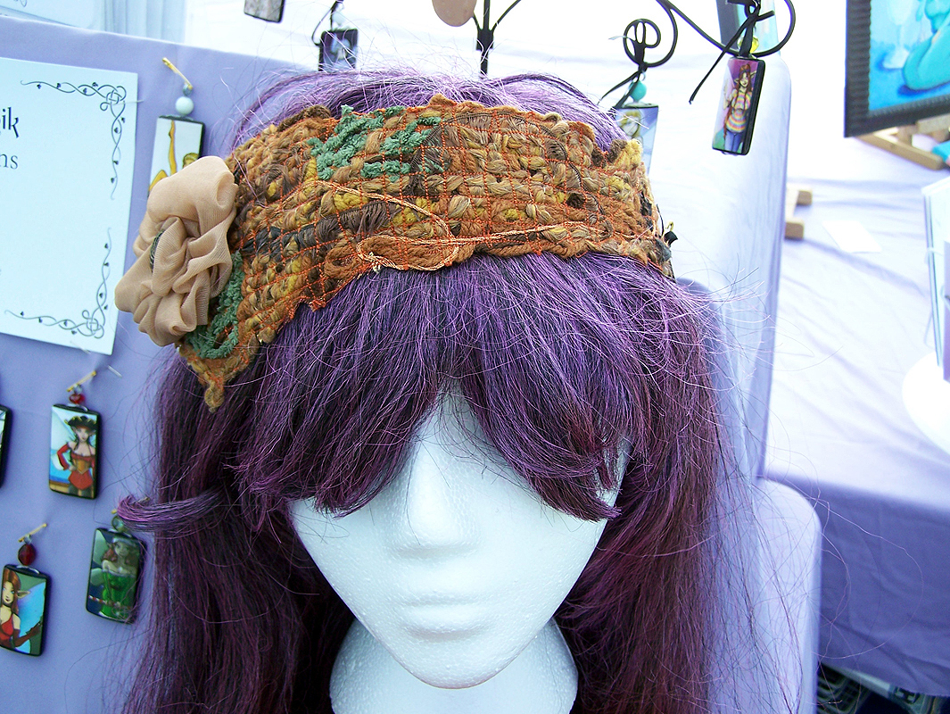 "Alchemy headband - ""fabric"" created with ribbon & yarn"