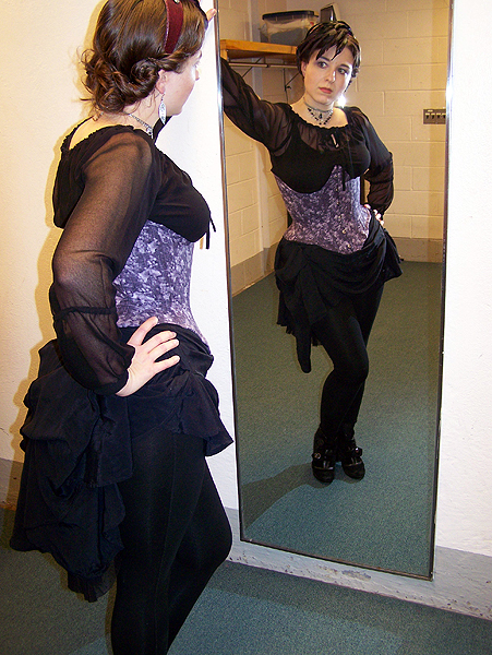 Grape underbust corset designed and built by Katharine Tarkulich