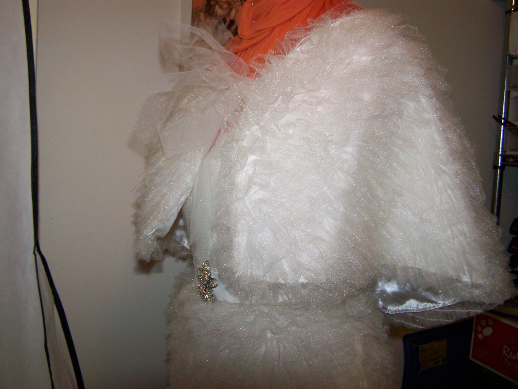 White fantasy wedding bridal cape designed and built by Katharine Tarkulich