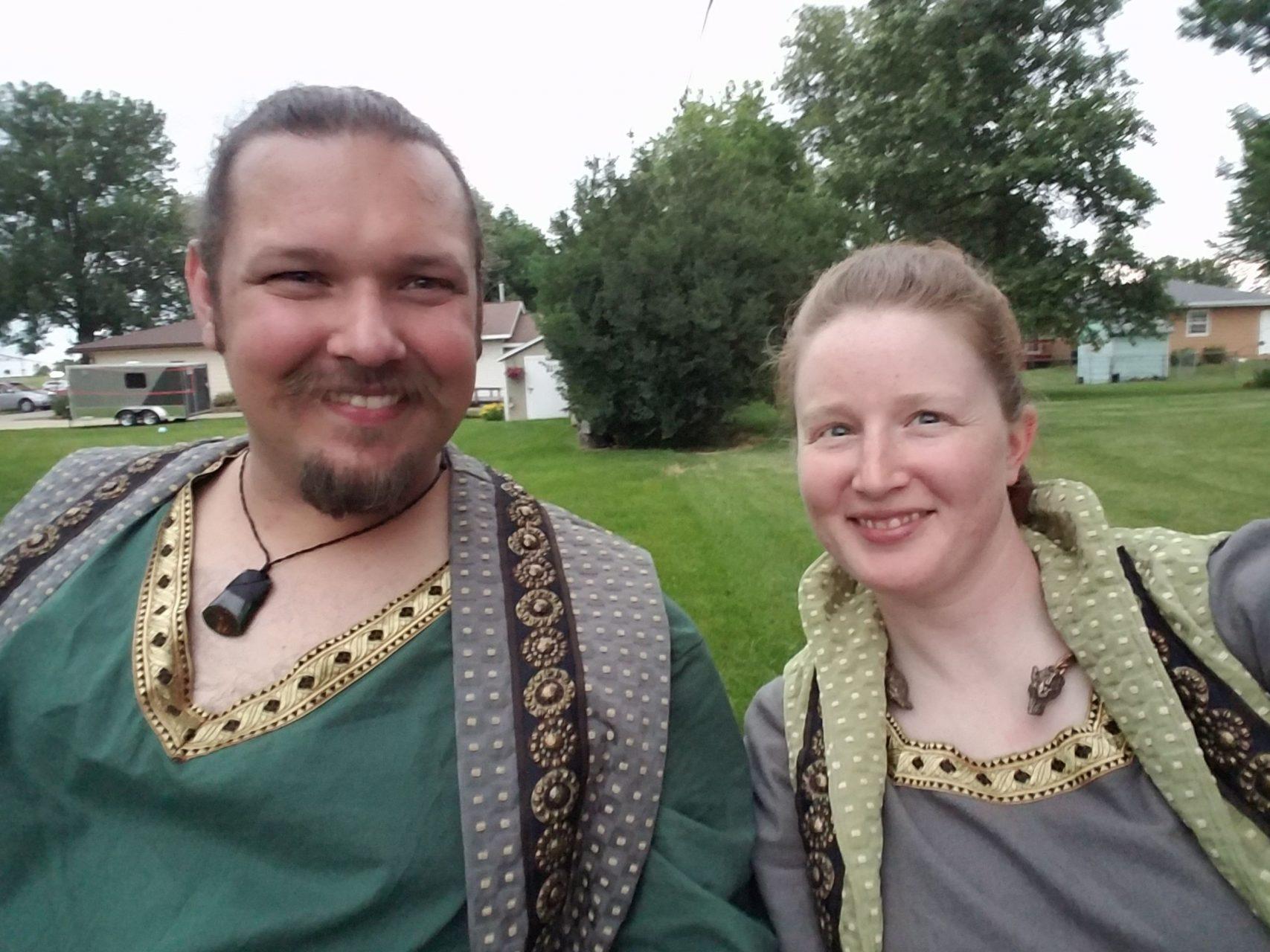 Celtic linen and cotton tunics, linen pants, print surcoat medieval costume commission