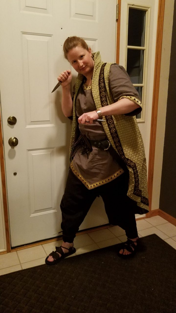 Female Celtic linen and cotton tunics, linen pants, print surcoat medieval costume commission