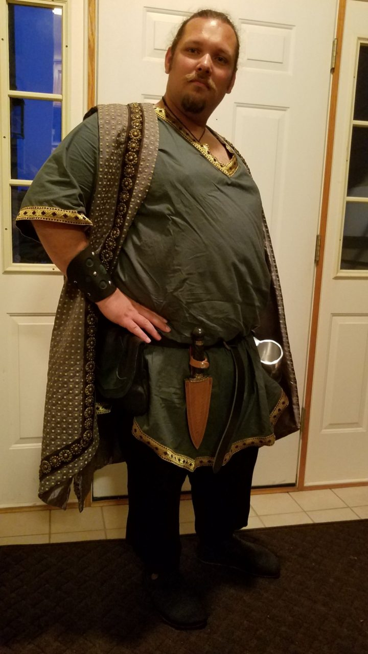 Male Celtic linen and cotton tunics, linen pants, print surcoat medieval costume commission