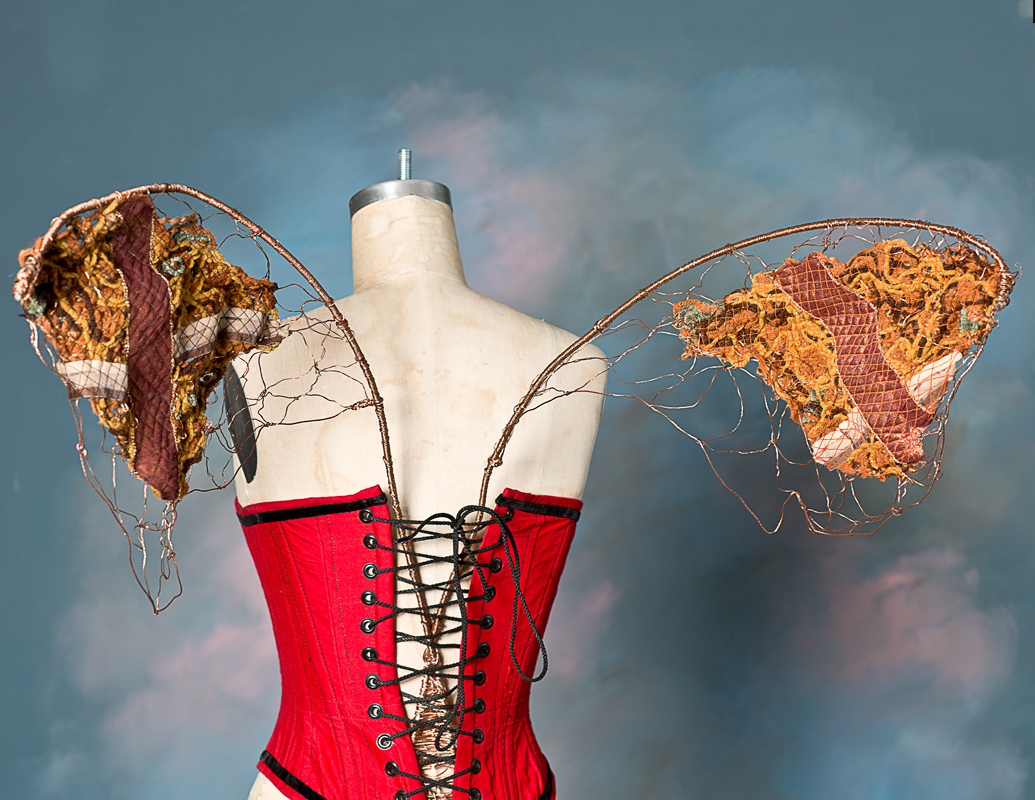 "Alchemy Wings - copper wire & ""fabric"" made with ribbon & yarn"