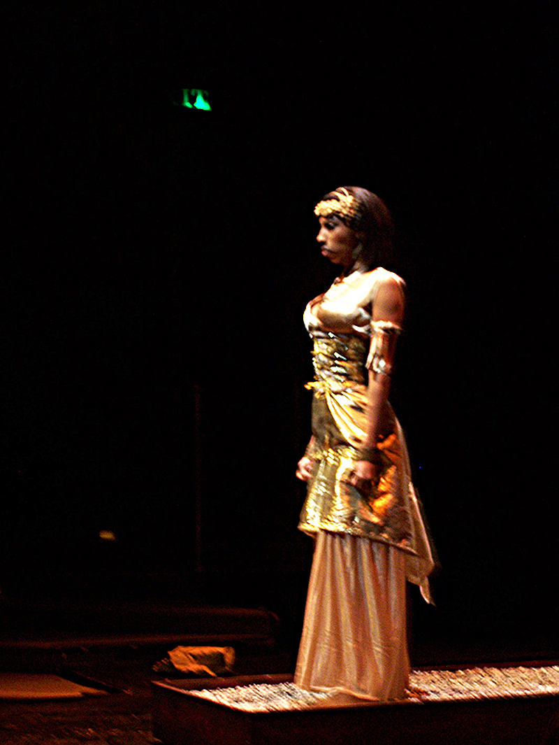 Helen in chains from The Women of Troy costume design by Katharine Tarkulich