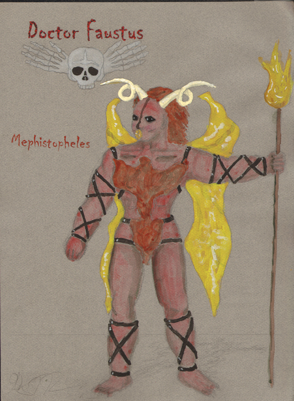 Mephistopheles demon from Faustus, costume design by Katharine Tarkulich
