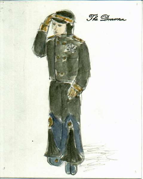 The Doorman from The Madwoman of Chaillot, steam punk costume design by Katharine Tarkulich