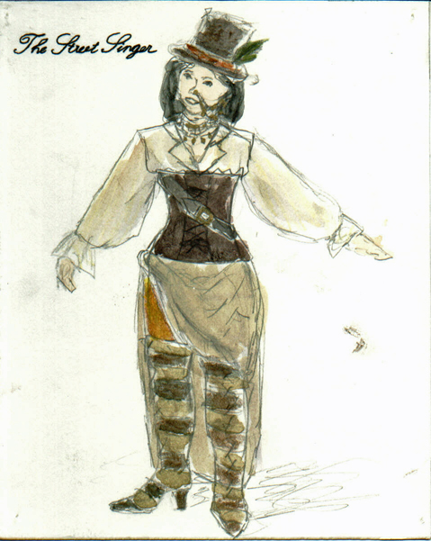 The Street Singer from The Madwoman of Chaillot, steam punk costume design by Katharine Tarkulich