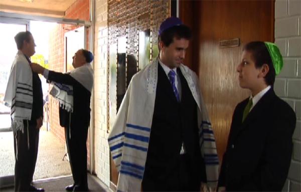Entering temple in Judy Horowitz's Bat Mitzvah short film, costume design by Katharine Tarkulich