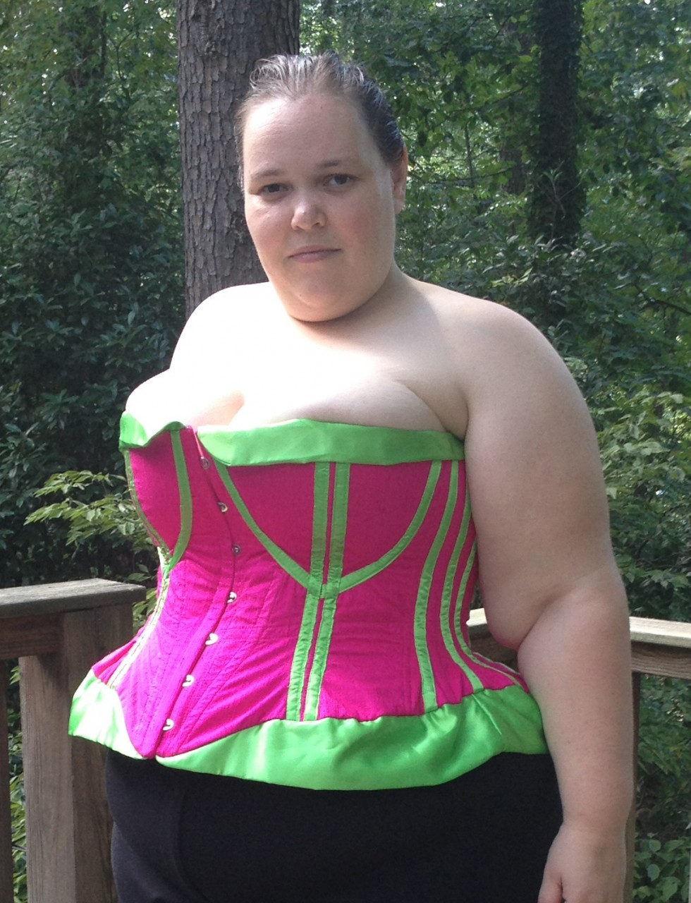 Hot pink and lime green corset commission designed and built by Katharine Tarkulich