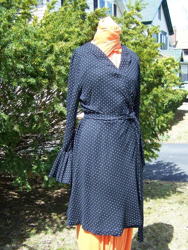 polka dot knit wrap dress commission