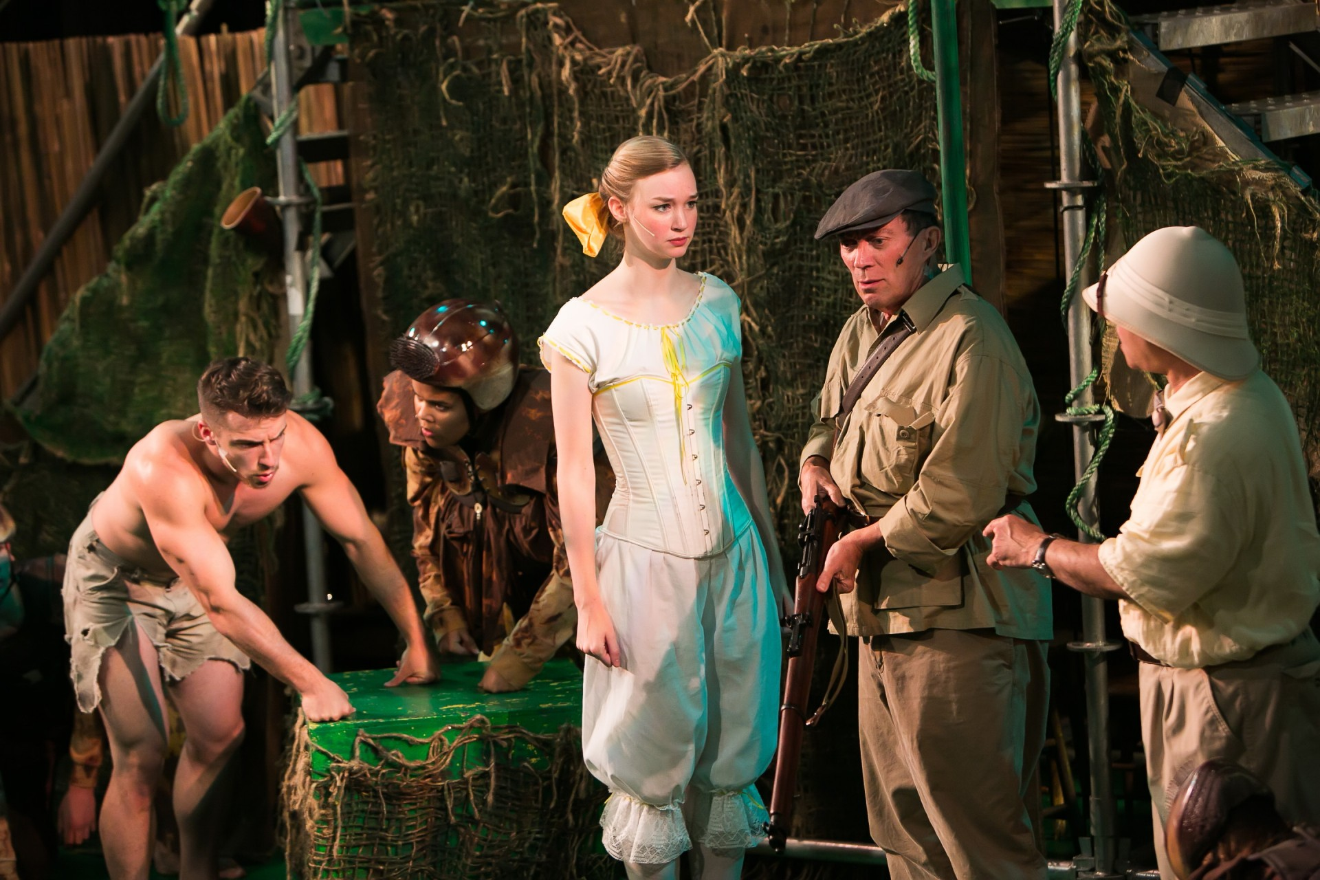 Tarzan, Kala, Jane, Clayton, and Professor Porter in Disney's Tarzan, costume design by Katharine Tarkulich