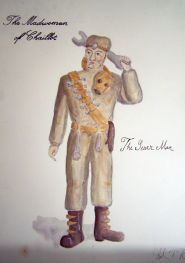 The Sewer Man from The Madwoman of Chaillot, steam punk costume design by Katharine Tarkulich