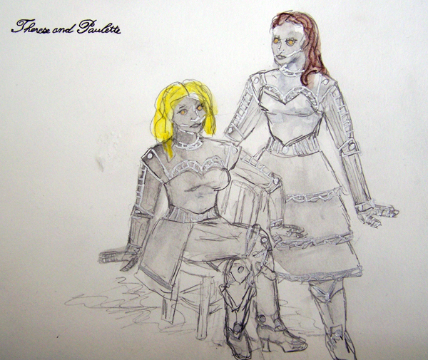Therese and Paulette from The Madwoman of Chaillot, steam punk costume design by Katharine Tarkulich