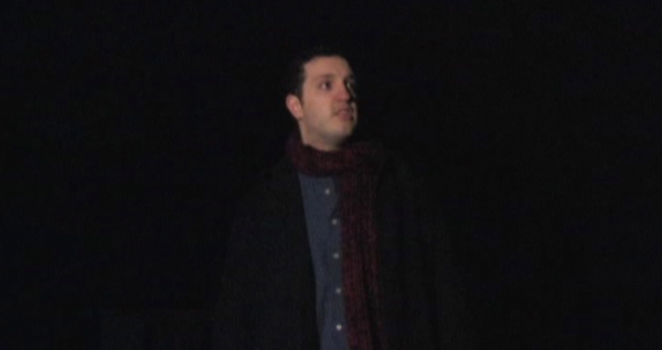 College guy is about to get eaten in The Heart of Christmas, costume design by Katharine Tarkulich