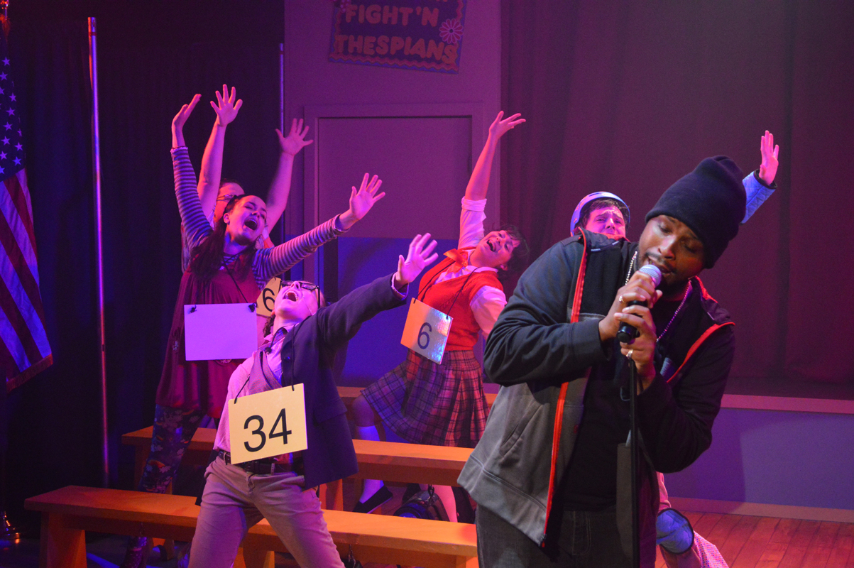 Mitch Mahoney and cast in The 25th Annual Putnam County Spelling Bee, costume design by Katharine Tarkulich