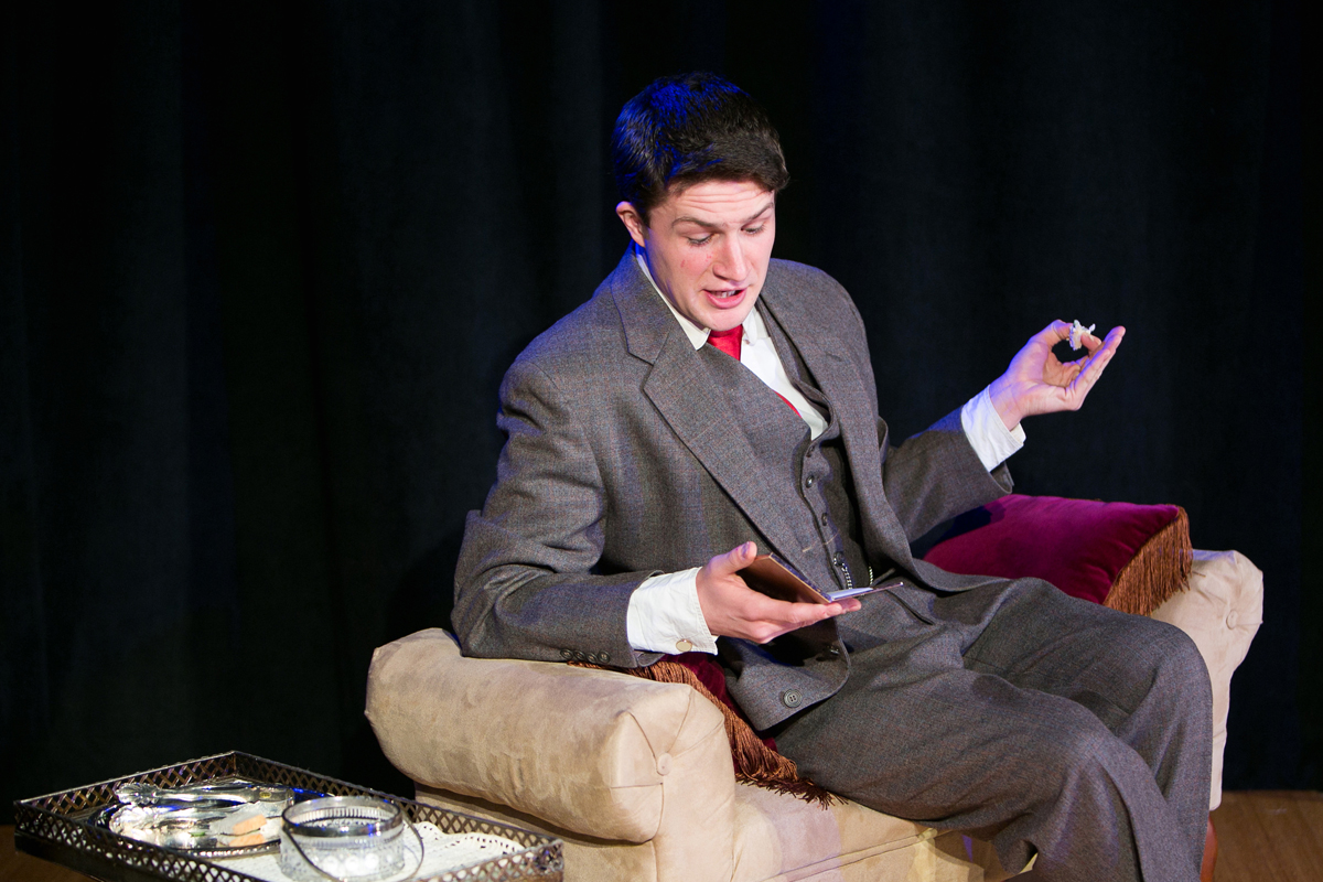 Algernon Moncrieff relaxes in The Importance of Being Earnest, costume design by Katharine Tarkulich