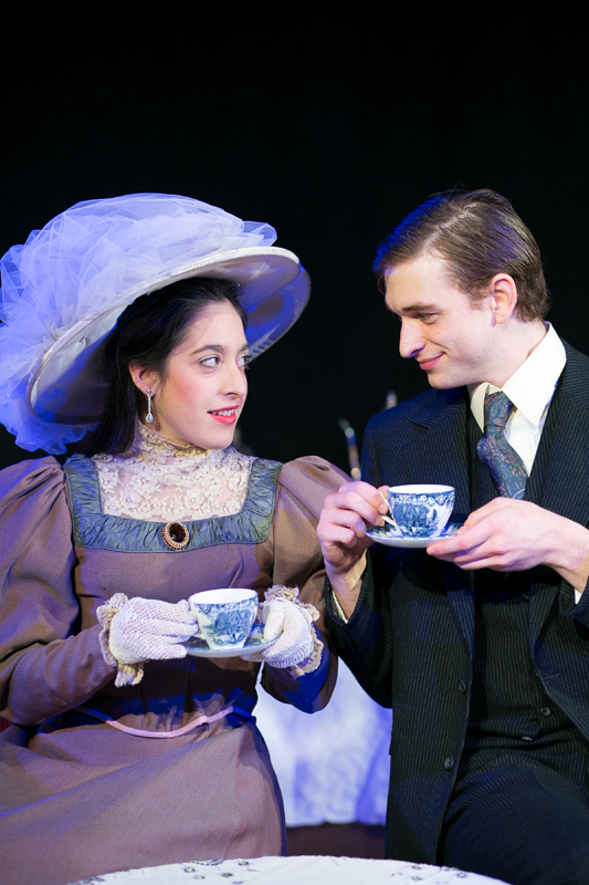 Gwendolyn Fairfax and Jack Worthing in The Importance of Being Earnest, costumes designed by Katharine Tarkulich