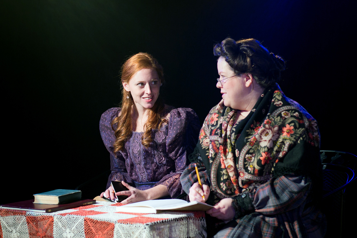Cecily Cardew and Miss Prism in The Importance of Being Earnest, costumes designed by Katharine Tarkulich