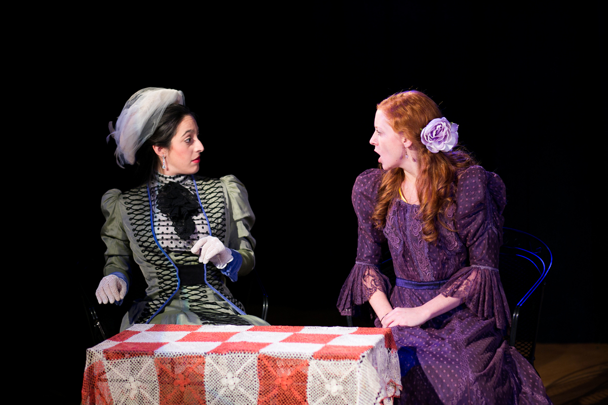 Gwendolen Fairfax and Cecily Cardew in The Importance of Being Earnest, costumes designed by Katharine Tarkulich