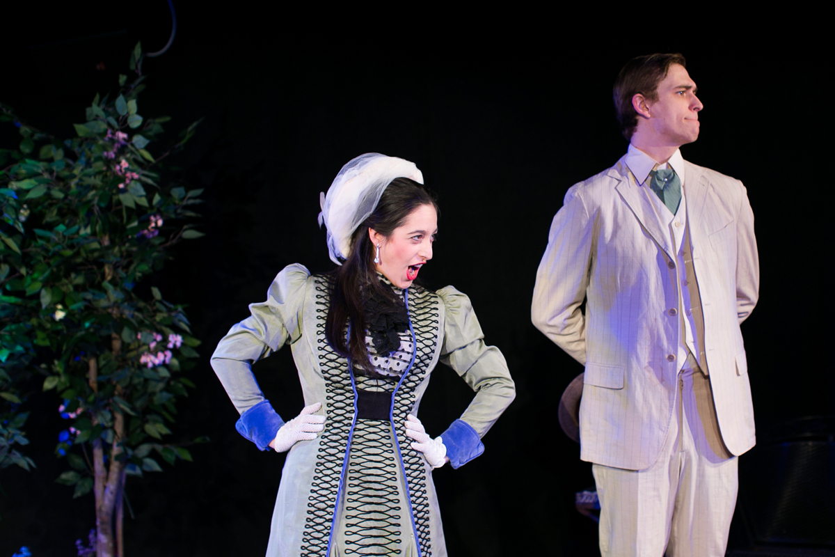 Jack Worthing and Gwendolen Fairfax in The Importance of Being Earnest, costumes designed by Katharine Tarkulich