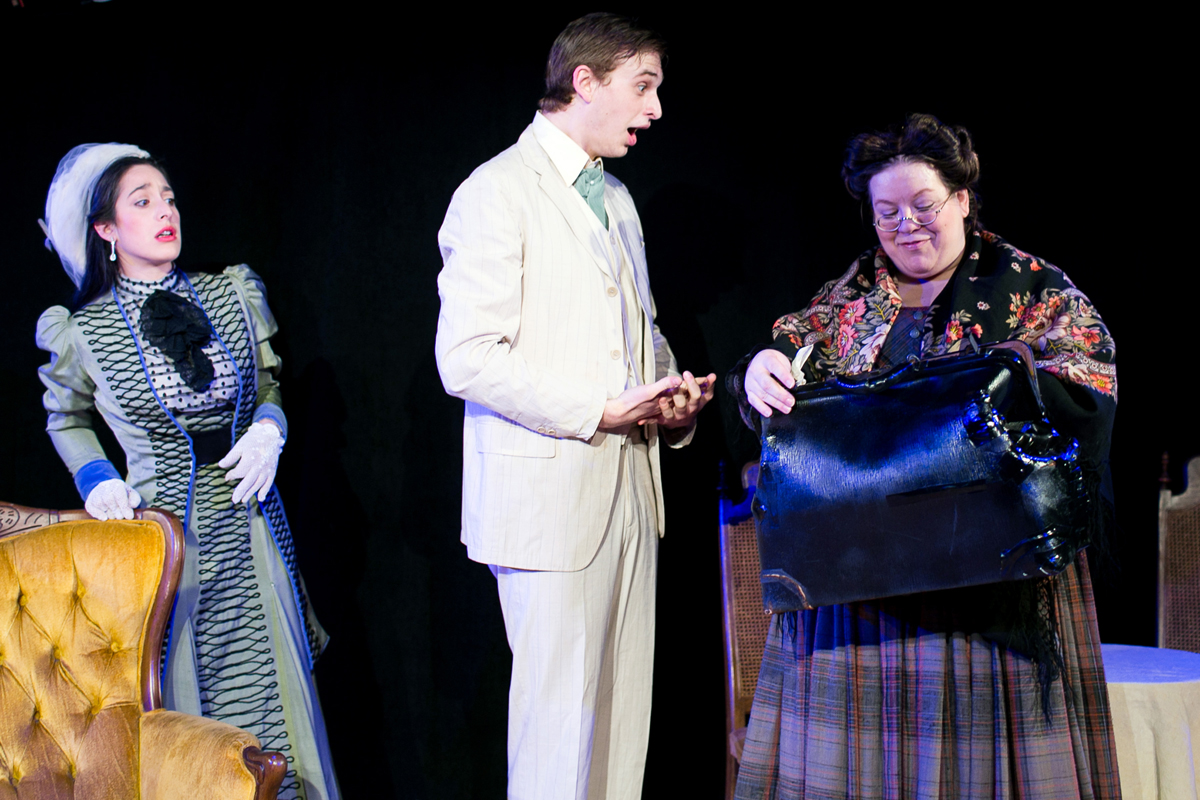 Gwendolyn Fairfax, Jack Worthing, and Miss Prism in The Importance of Being Earnest, costumes designed by Katharine Tarkulich