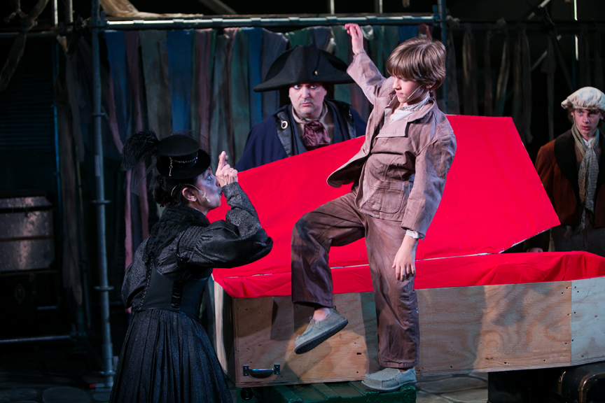 Mrs. Sowerberry, Mr. Bumble, Oliver, and Noah Claypole in Oliver! steampunk costume design by Katharine Tarkulich