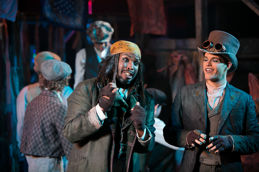 Fagin and the Artful Dodger in Oliver! steampunk costume design by Katharine Tarkulich