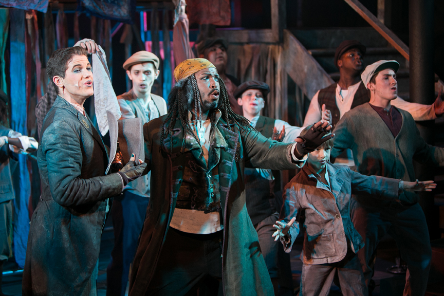 Artful Dodger, Fagin, Oliver, and Gang in Oliver! steampunk costume design by Katharine Tarkulich