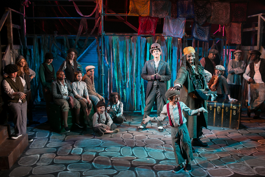 Fagin, Artful Dodger, and the gang in Oliver! steampunk costume design by Katharine Tarkulich