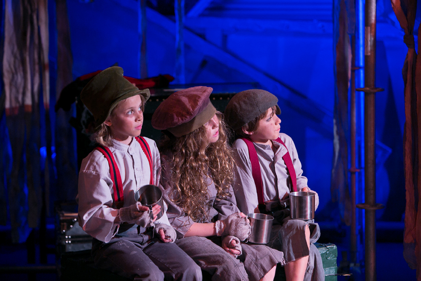 Fagin's gang of child pickpockets in Oliver! steampunk costume design by Katharine Tarkulich