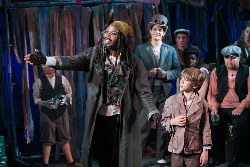 Fagin meets Oliver with Dodger and the gang in Oliver! steampunk costume design by Katharine Tarkulich