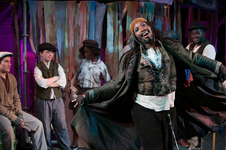 Fagin dances and sings You've Got To Pick a Pocket or Two in Oliver! steampunk costume design by Katharine Tarkulich